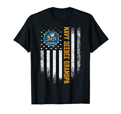 Vintage USA Proud US Navy Seabee Grandpa American Flag Gift T-Shirt