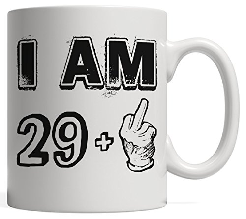 Funny Thirty Years Old Gift, 29 + Middle Finger - Legends are Born in 1987 | Vintage 30th Birthday & Anniversary Bday Mug - Life Begins At 30 | For Your Friends Who Love Sarcasm & Irony