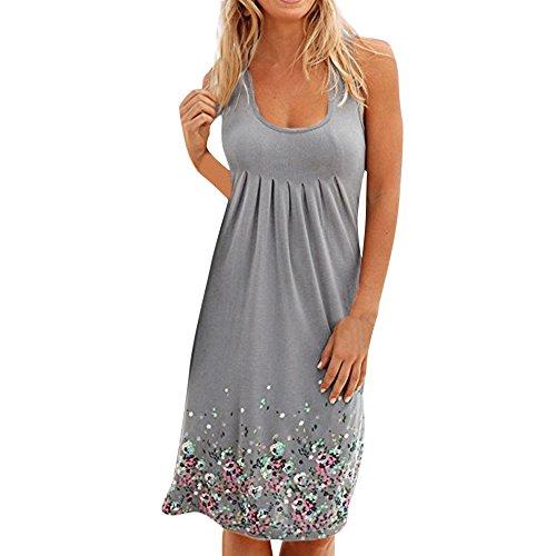 (Lovor Womens Summer Casual Sleeveless Boho Evening Party Beach Rockabilly Sheath Belted Flared Long Vest Dresses(Gray,XL))