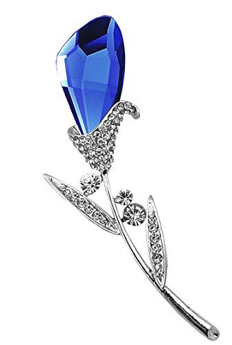 Sapphire Clip - Gyn&Joy Womens Blue Crystal Tulip Brooches Pins In Silvery Finish BZ041
