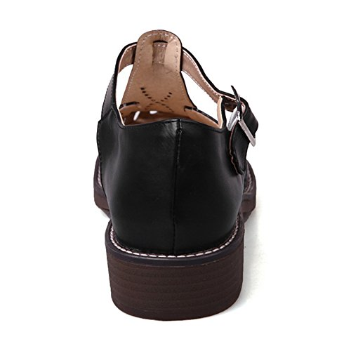 RAZAMAZA Mujer Cut out T-strap Tac¨®n Ancho Sandalias Verano Gladiator Zapatos Negro
