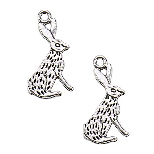 JETEHO 80Pcs Antique Silver Rabbit Charms Pendant for Jewelry Making