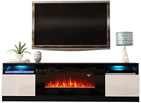 MEBLE FURNITURE RUGS York 02 Electric Fireplace Modern 79 TV Stand Black White
