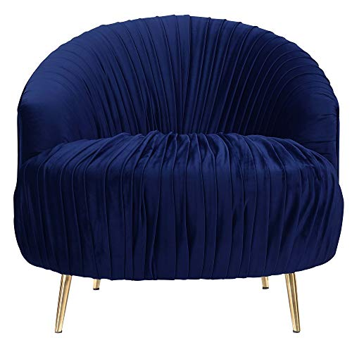 Abbey Avenue A-DEN-286GCAC Denver Accent Chair (Gold Stainless Legs), Navy Blue