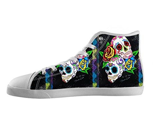 Kvinners Lerret Høy Topp Sko Day Of The Dead Utformingen Sukker Skallen Shoes01