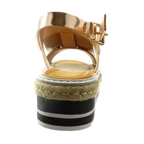 Angkorly - Zapatillas de Moda Sandalias alpargatas zapatillas de plataforma mujer fleco nodo patentes Talón Plataforma 5 CM - Champán