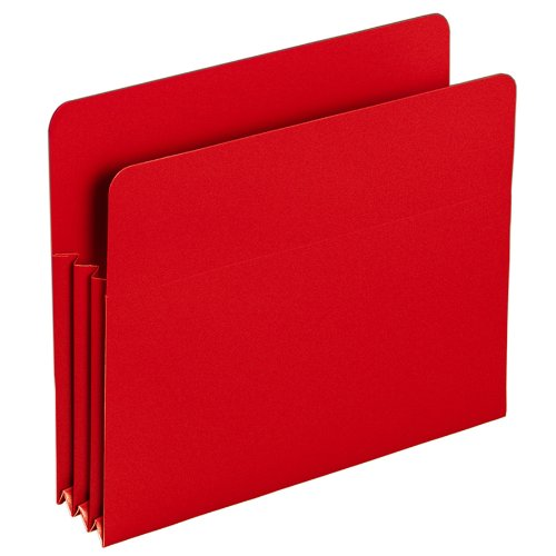 "Smead Poly File Pocket, Straight-Cut Tab, 3-1/2"" Expansion, Letter Size, Red (73501)"
