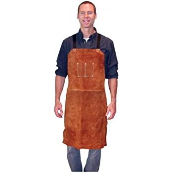 Leather Welding Apron Heat Flame Resistant Heavy Duty Work Apron with 2 Pockets, 36