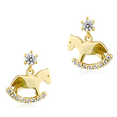 UNICORNJ Childrens 14k Yellow Gold Cubic Zirconia Rocking Horse Dangle Post Earrings by Unicornj