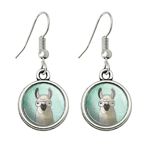 GRAPHICS & MORE Hip Llama with Glasses Novelty Dangling Drop Charm Earrings ()