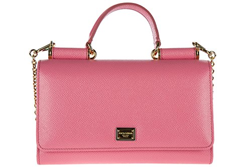 Dolce&Gabbana women's leather clutch with shoulder strap handbag bag purse sicil by Dolce & Gabbana