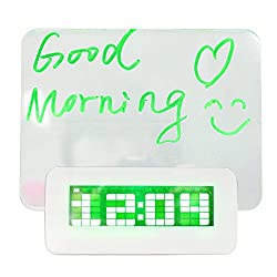Message Board Clock Fluorescent LED Digital Display Time Date Temperature With Birthday Reminder and Music Appreciation Travel Home Bedroom Bedside Memo Alarm Clock for Kids (Green)