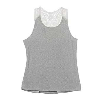 Susenstone Women Summer Lace Vest Top Short Sleeve Blouse Casual Tank Tops T-Shirt (M)