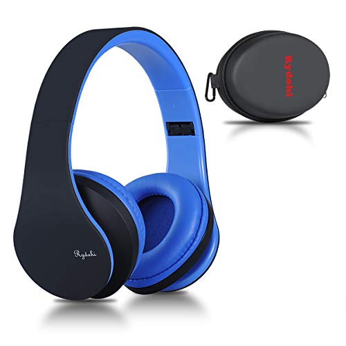 Bluetooth Headphones Over Ear, Rydohi Wireless Stereo Headset with Deep Bass, Foldable and Lightweight, Wired and Wireless Modes Built in Mic for Cell Phone, TV, PC (Black/Blue)