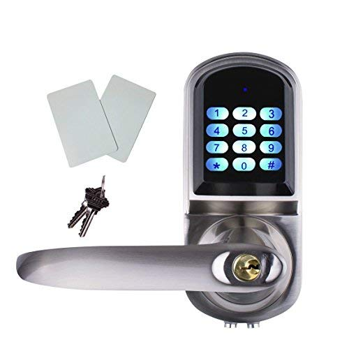 EZlock ELC01-V2.0 Electronic Keyless Backlit Keypad Door Lever Lock, Unlock with Code, Card, Physical Key.   Auto-Lock   Passage Mode   Voice Prompts for Setting, Left-Handed