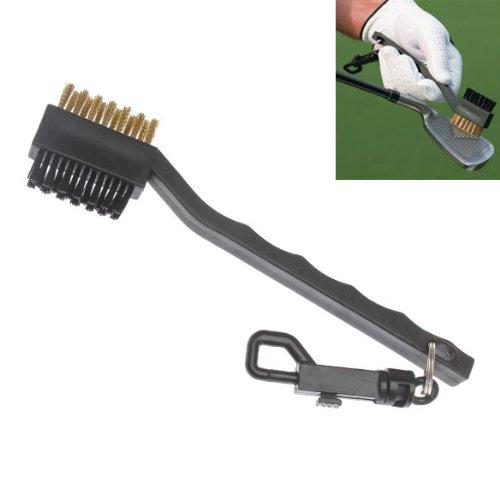 (Vktech Two Sided Brass Wires Nylon Golf Club Brush Black)