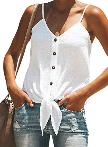 (BLENCOT Women Cute Sleeveless Shirts Blouses Tie Knot Button Up V Neck Spaghetti Strap Fashion Cami Tank Top White S)