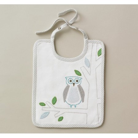 (DwellStudio Embroidered Bib, Owls Sky)