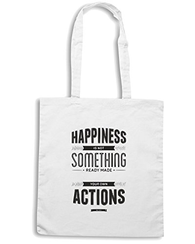 T-Shirtshock - Bolsa para la compra CIT0093 Happiness is not something ready made Blanco