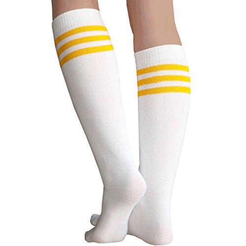 Chrissy's Socks Women's Knee High Tube Socks 7-11 White / Gold -