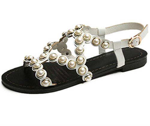 Gladiator Luce sandali estivi Suole PU all'aperto casual tacco grosso imitazione perla Walking femminile YCMDM , white , us8 / eu39 / uk6 / cn39