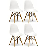 Mod Made Modern Contemporary Paris Tower Side Chair Dining Chair Wood Leg, White, Set of 4