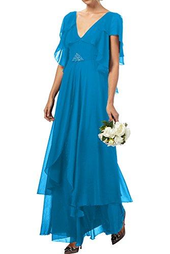 Chiffon Abendkleider Neu Ivydressing Promkleider Kurzarm Mutterkleider Neck Lang V Elegant Blau 2017 w4wqpx