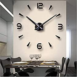 FASHION in THE CITY 3D DIY Wall Clock Creative Design Mirror Surface Wall Decorative Sticker Watches (Black)