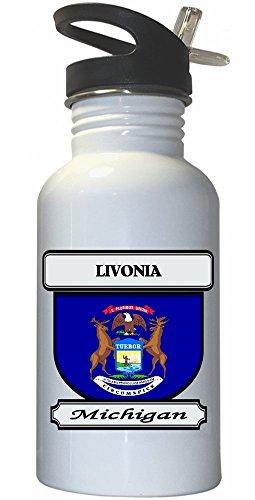 Livonia, Michigan (MI) City White Stainless Steel Water Bottle Straw Top (City Livonia)
