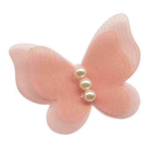 Organza Ribbon Wedding Decor - Dandan DIY 30pcs Organza Ribbon Flowers Bows Butterfly Pearl Appliques Wedding Decor (Peach)