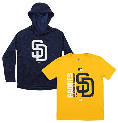 (Outerstuff MLB Youth Primary Icon Hoodie and Tee Combo, San Diego Padres Small (8))