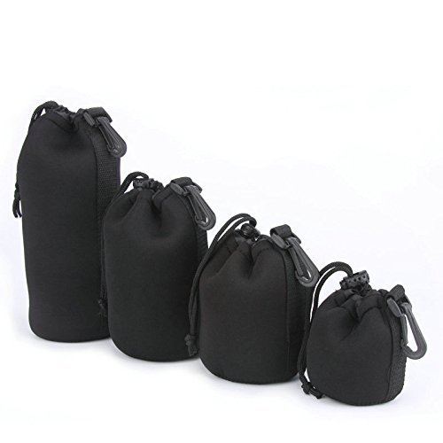 4X Neoprene DSLR Camera Lens Soft Protector Carry Pouch Bag Case Set S M L XL BEESS
