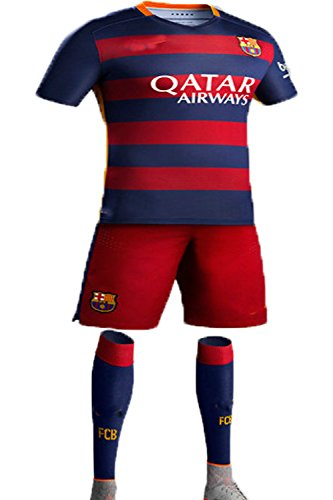 FC Kids 2015-2016 #8 Home Football Soccer Jersey Sportswear Polo Shirt & Short & Sock FOR 3-14 Years Kids (7-8 Years)