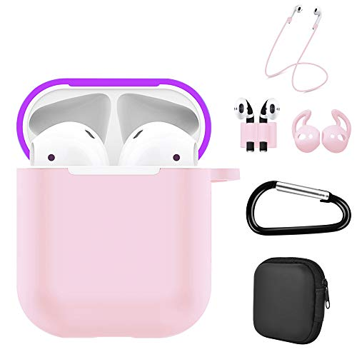 Luvcase 6 in 1 Airpods 2 & 1 Case, Accessories Kits Airpods Charging Cover Skin with Anti-Lost Carabiner Clips/Ear Hook Grips/Airpods Straps/Watch Band Holder/Airpods Case Holder(Purple and Baby Pink)