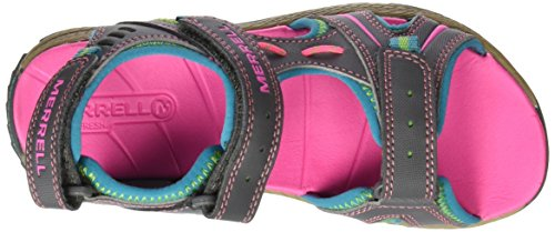 MerrellPanther Sandal - Para usar al aire libre. Unisex Niños Multicolor (Grey/Turquoise)