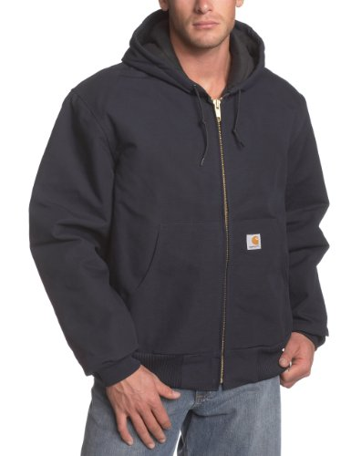 Carhartt Men's Quilted Flannel Lined Duck Active Jacket J140,Dark Navy,Medium ()