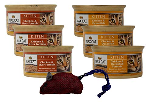 Nutro Canned Kitten Food Entree 2 Flavor Variety 6 Can Plus Toy Bundle, 3 Each: Chicken Liver, Chicken Oceanfish (3…