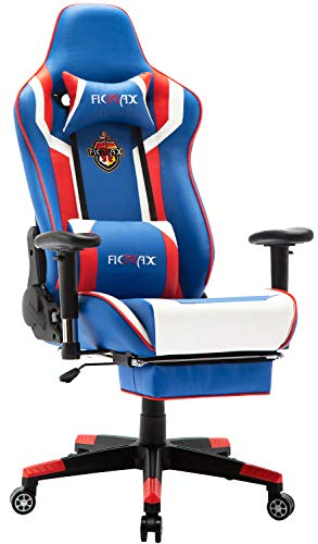 - Ficmax Massage Gaming Chair with Footrest Ergonomic Gamer Chair for Adults Reclining Racing Office Chair PU Leather Computer Chair with Headrest and Lumbar Support Big and Tall Game Chair (Blue/R/W)