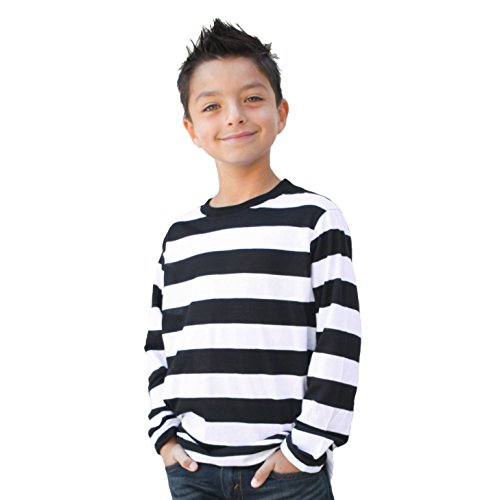 Child/Teen Long Sleeve Striped Shirt Black and White (Child -