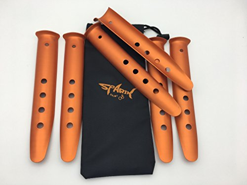(SWONVI 9 Inch Pack of 6 Orange Color Aluminum Tent Stakes for Camping / Trip / Hiking / Backpacking or Other Outdoor Activities in Sand or Snow Pegs Come with Carry Bag (9 Inch Orange 6 Packs))