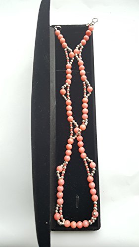 (Gorgeous Angel Skin Pink Salmon Coral Round Beads Necklace 925 Sterling Silver)