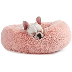 Veehoo Self-Warming Round Dog Bed for Small Dogs & Cats,Luxurious Faux Fur Donut Cuddler, Bolster Pet Bed & Sofa, Extra Plush Dog Pillow & Couch, Machine Washable, Pink