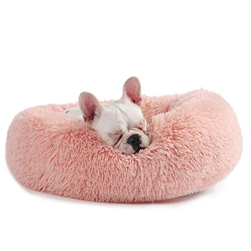 Veehoo Self-Warming Round Dog Bed for Small Dogs & Cats,Luxurious Faux Fur Donut Cuddler, Bolster Pet Bed & Sofa, Extra Plush Dog Pillow & Couch, Machine Washable, Pink ()
