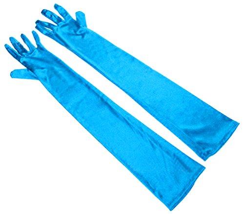 Long Nylon Light Blue Gloves (SportsWell Women's Long Glove Classic Evening Formal Party Elbow Length Gloves ,Light blue)