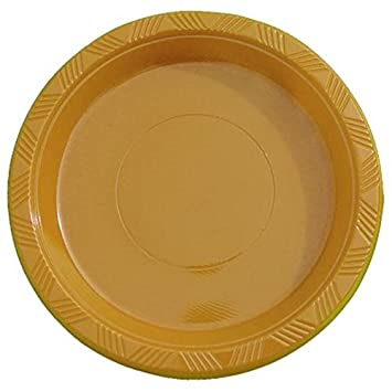 Exquisite 9 Inch. Gold plastic plates - Solid Color Disposable Plates - 100 Count  sc 1 st  Amazon.com & Amazon.com: Exquisite 9 Inch. Gold plastic plates - Solid Color ...