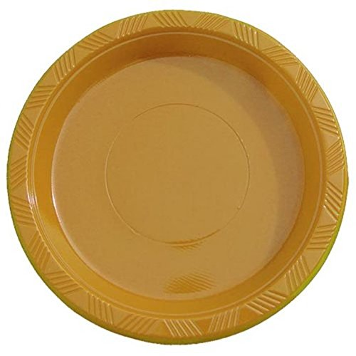 Exquisite 7 Inch. Gold Plastic Dessert/Salad Plates - Solid Color Disposable Plates - 100 Count