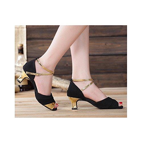 5cm Sandales 5 5 Talon à Noir Latine Doré Petite Femme OCHENTA Chaussure 3 Danse Intérieur BpqRHqa