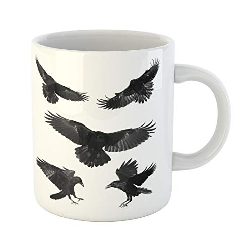 Semtomn Funny Coffee Mug Crow Birds Mix Flying Common Ravens Corvus Corax Halloween 11 Oz Ceramic Coffee Mugs Tea Cup Best Gift Or Souvenir -