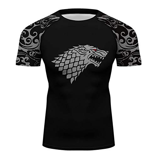 Men Game of Thrones House Stark Running Tee Top Men Anti Abrasion UV Protect Youth Adults Sportswear Printed Rash Guards