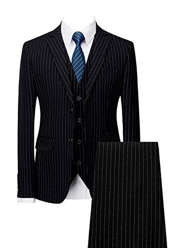 Mens Pinstripe Suit 3 Piece Slim Fit Casual Dress Suits Blazer+Vest+Pants US Size 40 (Label 4XL) Black